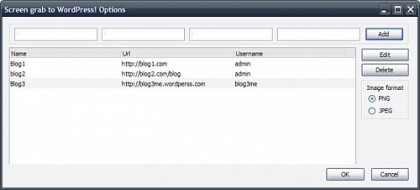 Screen grab to WordPress