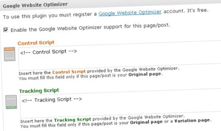 Google Website Optimizer for WordPress